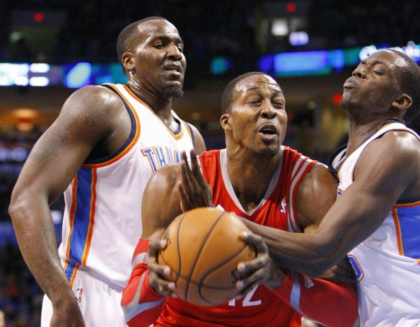 Dwight Howard double teamed