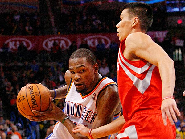 Jeremy Lin guarding Kevin Durant