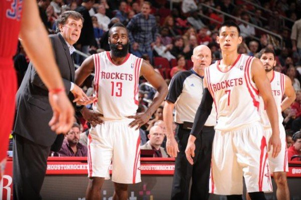 Kevin McHale James Harden Jeremy Lin e1393329989969 Houston Rockets   Jeremy Lin Cant Be Playing Less Than Patrick Beverley