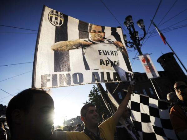 Carlos Tevez on a flag