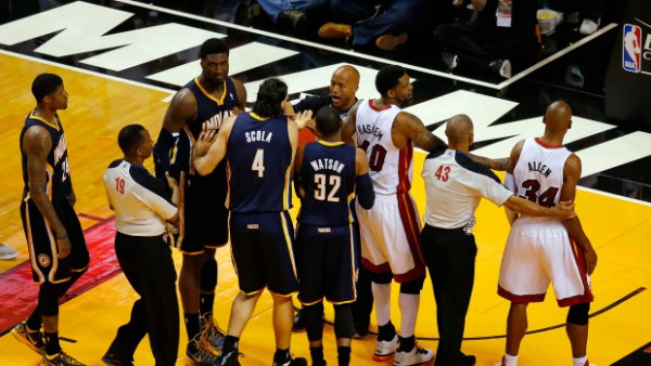 Pacers & Heat scuffle