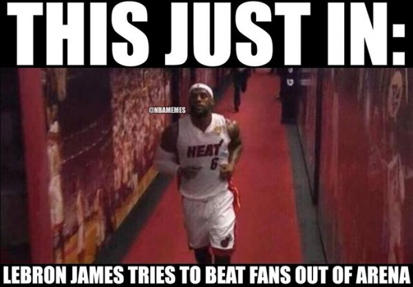 LeBron racing the fans