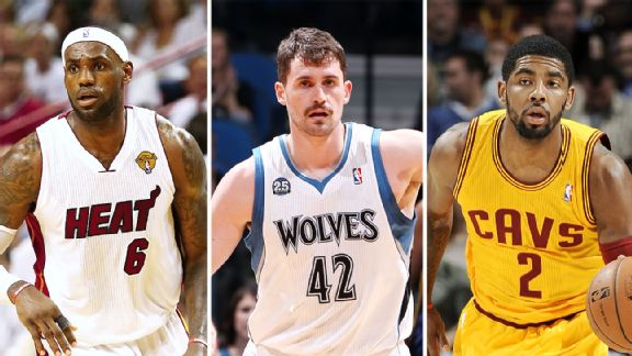 Kevin Love with Irving and James