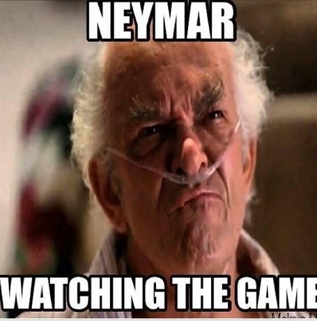 Neymar watching the game