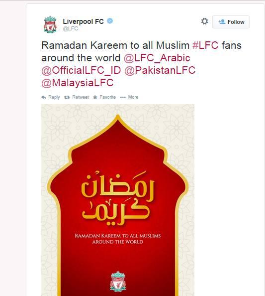 Ramadan Liverpool tweet