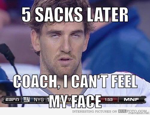 Eli Manning getting sacked