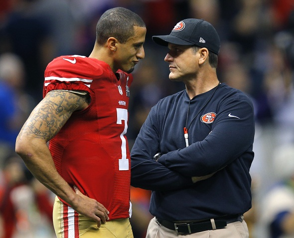 Kaepernick Harbaugh Stare contest