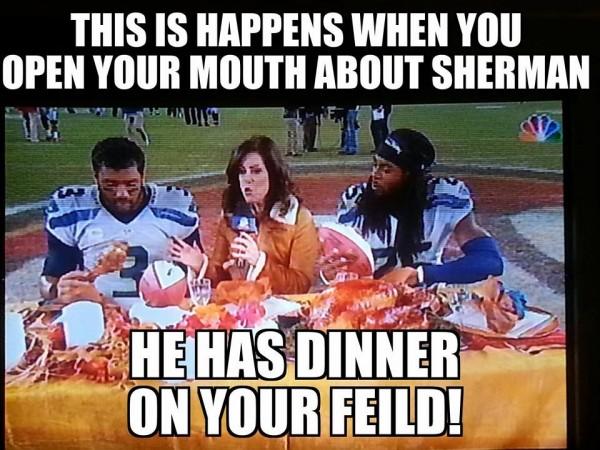 Sherman eating turkey