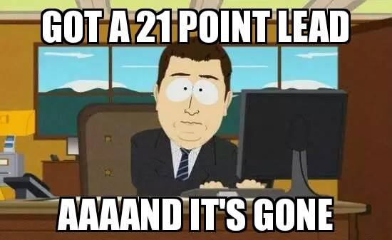 21 point lead gone