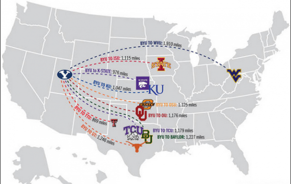 Big 12 BYU Map