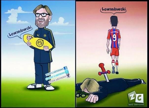 Lewandowski & Klopp cartoon