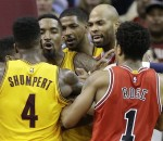 Cleveland Cavaliers & Chicago Bulls players scuffling in game 5