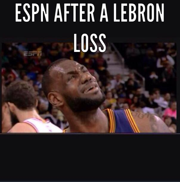 ESPN after a LeBron loss