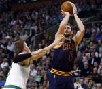 Kevin Love of the Cleveland Cavaliers facing the Boston Celtics