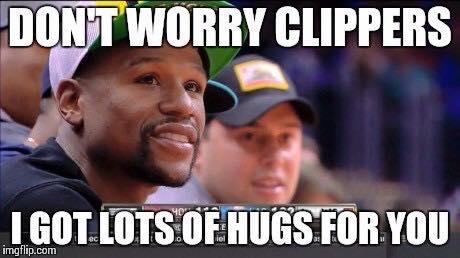 Mayweather hugs