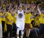 Stephen Curry of the Golden State Warriors celebrating a 3-pointer