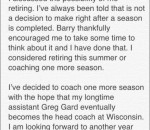Bo Ryan Statement