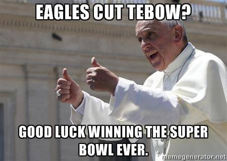 Pope Francis meme on Tebow