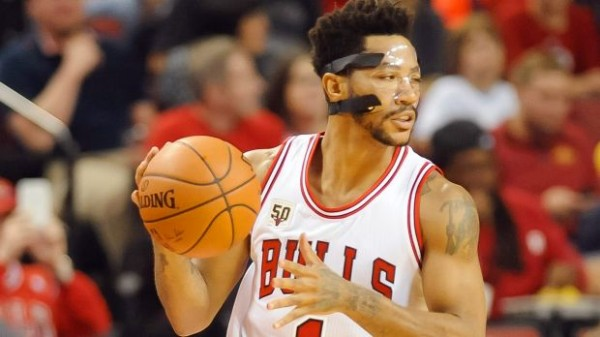 Derrick Rose in a mask