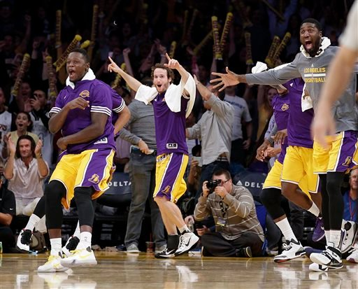 Lakers bench celebrating