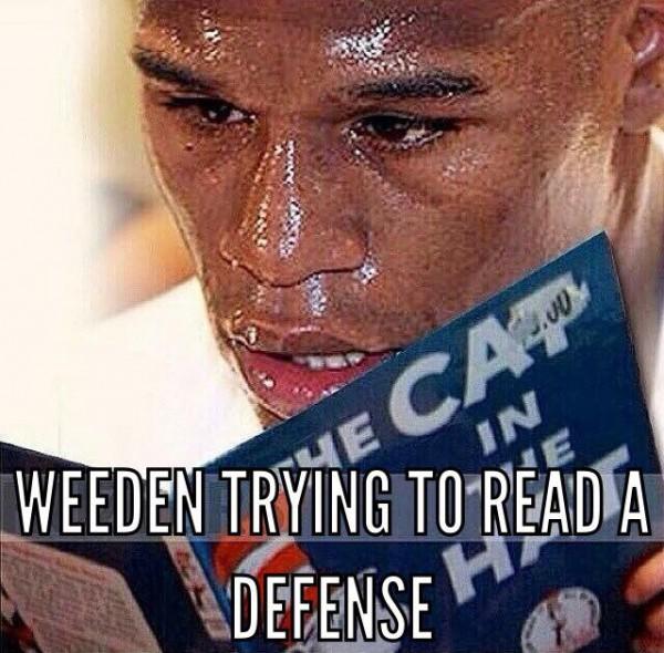 Weeden reading a defense
