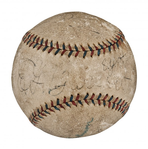 1918 World Series Last Pitch Game Used & Signed Baseball Inscribed by Babe Ruth