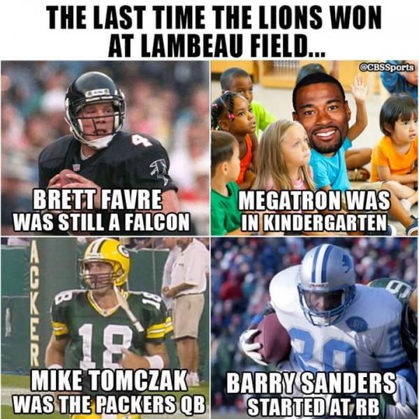 Last time Lions won in Lambeau