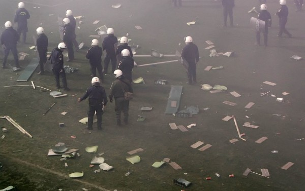 Police with thrown Seats