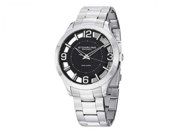Stuhrling Original Men's 754.02 Winchester Swiss Quartz Transparent Black Dial Watch