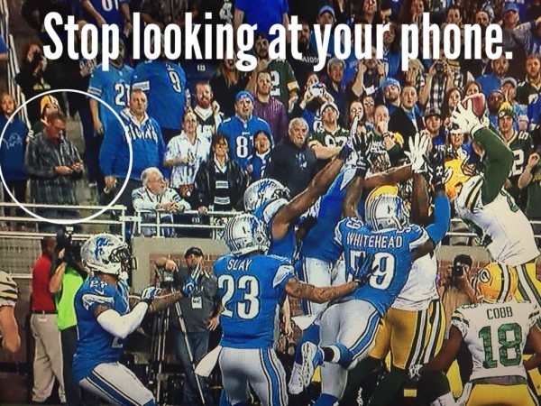 Looking at the phone meme