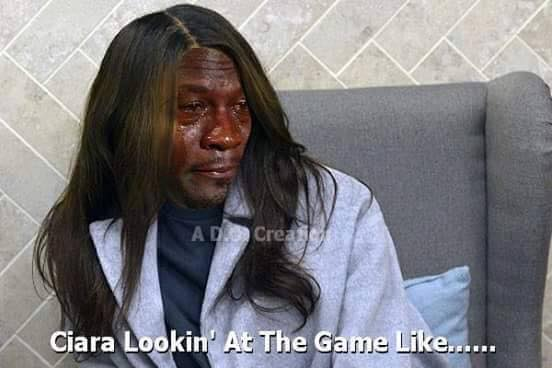Ciara looking at the game