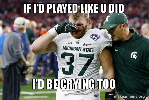 Crying Michigan State player