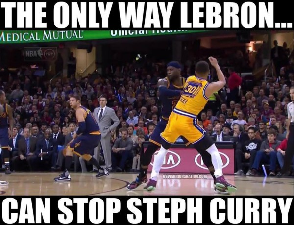 James pushing Curry