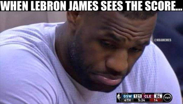 LeBron James looking at the score