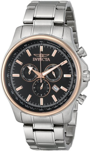 Invicta Men's 10302 Specialty Elegant Chronograph Black Dial Stainless Steel Watch