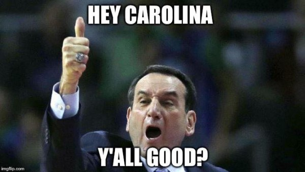 Coach K checking in