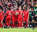 Liverpool celebrating Divock Origi goal