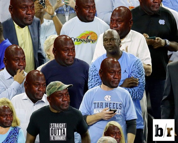 Michael Jordan surrounded by Crying Jordans