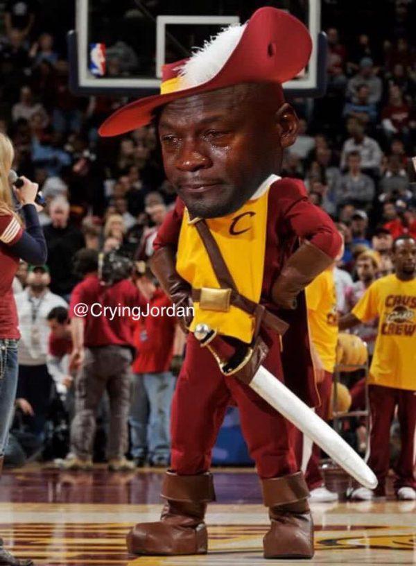 Crying Jordan Cavaliers Mascot