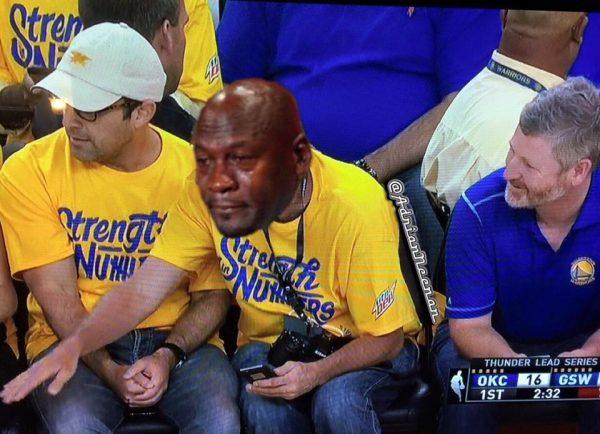 Crying Jordan Warriors Fan