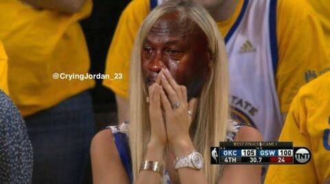 Crying Jordan Warriors Fan