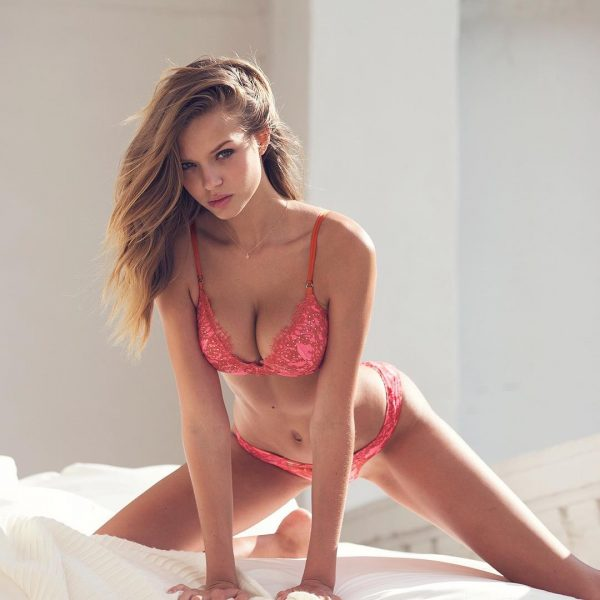 Josephine Skriver on the bed