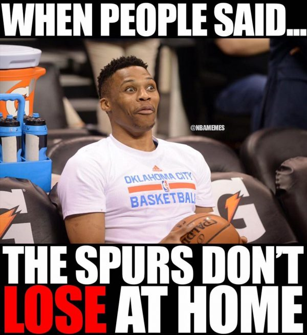 Spurs don't lose at home meme