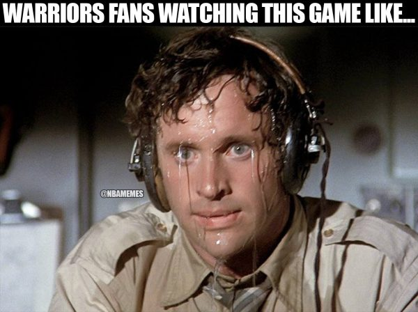 Warriors Fans Sweating
