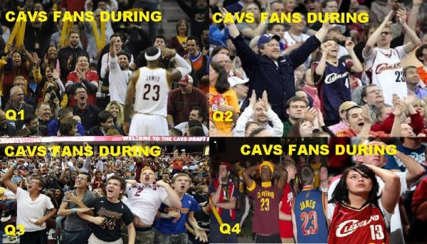 Cavs fans during quarters