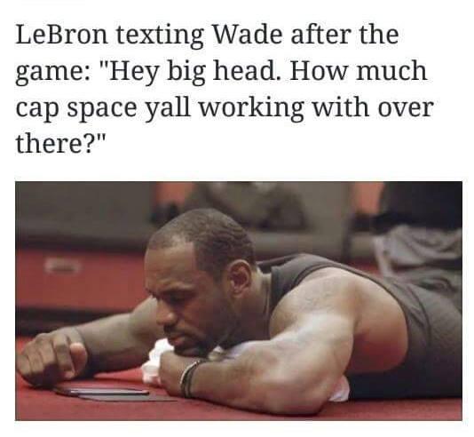 LeBron texting Wade