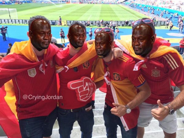 Spain fans crying jordan