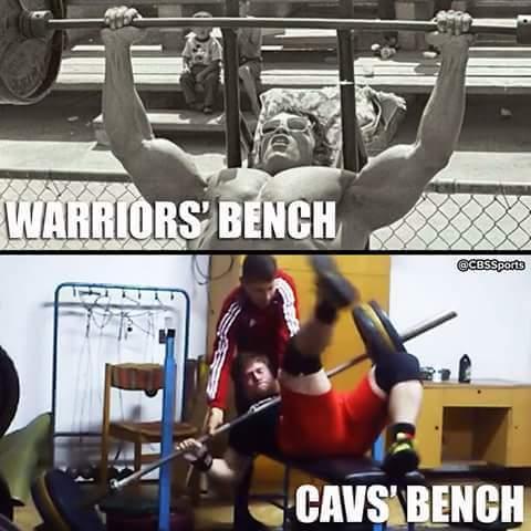 Warriors Cavs bench meme