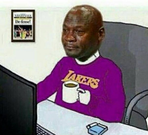 Crying Jordan Lakers fan