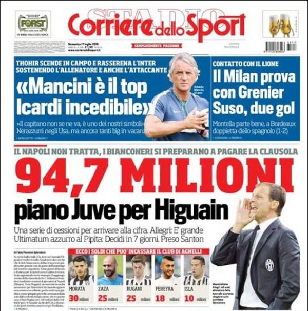 Higuain Juventus 94 million